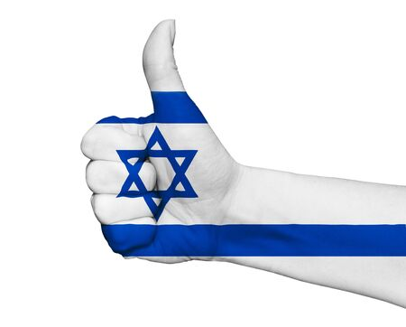 flag of israel: Hand with thumb up painted in colors of Israel flag isolated on white background Stock Photo