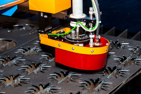 metall: Metall processing - laser cutting machine Stock Photo