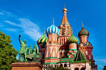 St. Basil's Cathedral on Red square and Minin and Pozhardky monument in Moscow, Russia Фото со стока - 48403124
