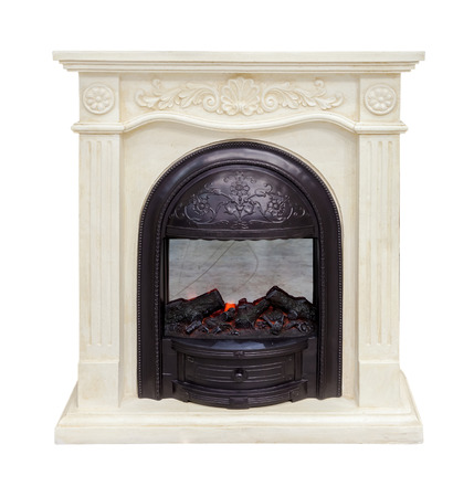 fires artificial: White fireplace isolated on white background