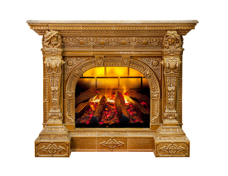 Luxury fireplace isolated on white background Standard-Bild