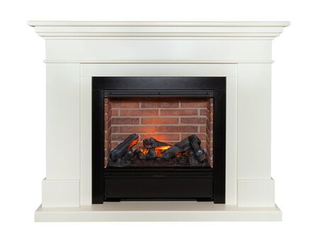 White artificial fireplace isolated on white background