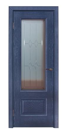 refurbishment: Modern blue room door isolated on white background