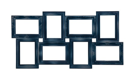 grunge frame: Picture photo frame of blue color with eight windows inside isolated on white background