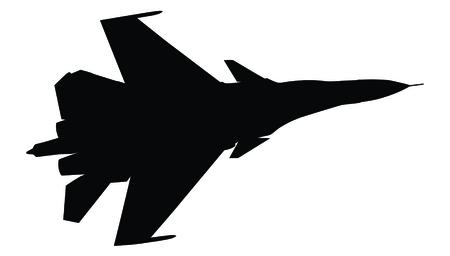 avion chasse: Silhouette de chasseur isol� sur blanc Illustration