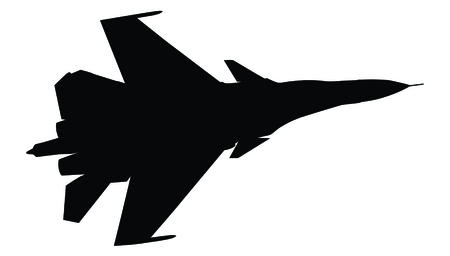 aero: Silhouette of fighter plane isolated on white