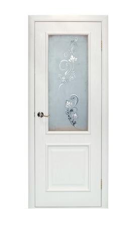 room door: Modern beige room door isolated on white background Stock Photo