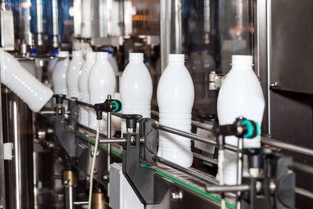 Packaging bottles line in the milk industry Stok Fotoğraf