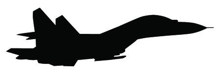 avion chasse: Silhouette de chasseur isolé sur blanc Illustration