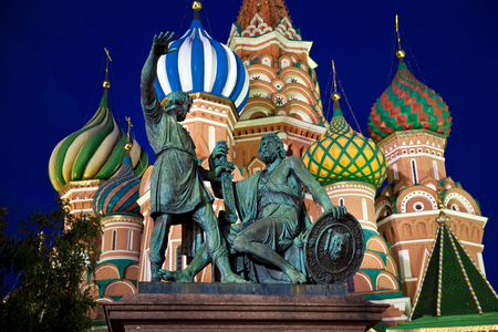 minin: Minin and Pozharsky monument at night in Moscow, Russia