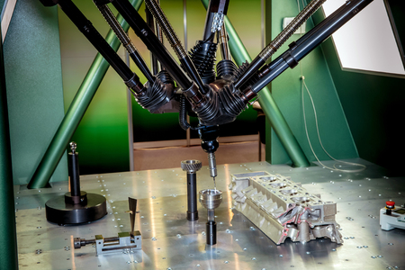 coordinate: Closeup of six-axis coordinate measuring machines CMMs