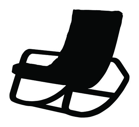 rocking: Silhouette of rocking chair isolated on white background