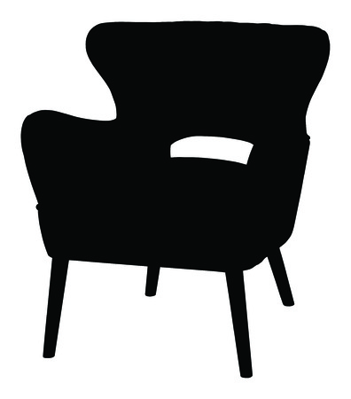 single seat: Silhouette of the modern chair, vector icon illustration of chair