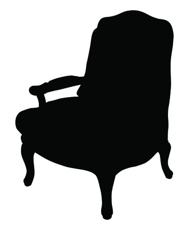 arm chair: Silhouette of the classic chair, vector icon illustration of chair