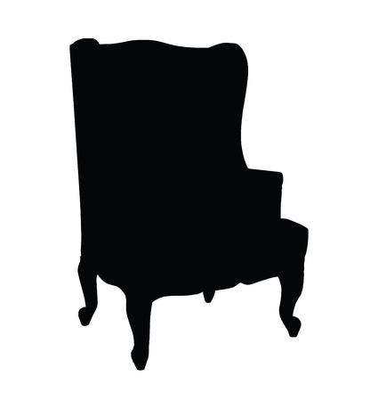 carved: Silhouette of classic retro carved chair, vector illustration Illustration