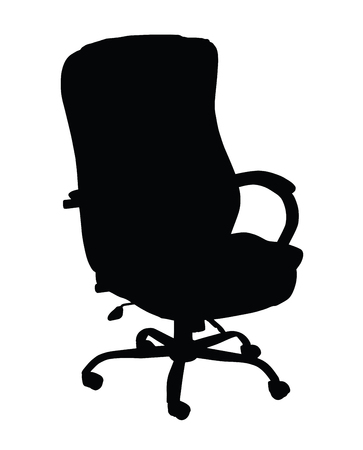 turning: Silhouette of turning leather office chair isolated on white background