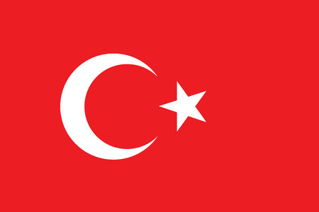 Vector of official flag of Turkey country, turkish flag illustration