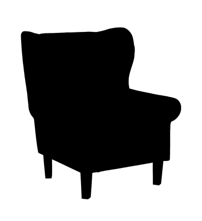 arm chair: Silhouette of classic retro carved chair, chair illustration