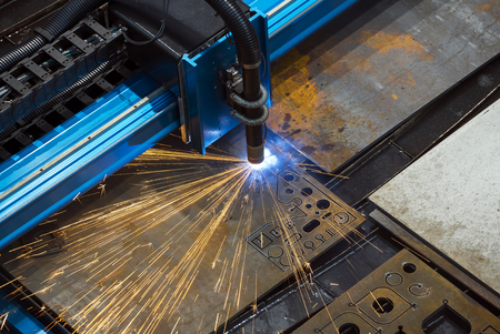 constant: Machine for constant metal laser cutting, metal processing close up