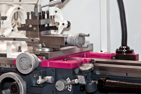 metal processing: Lathe-milling equipment, metal processing device. Industrial background Stock Photo