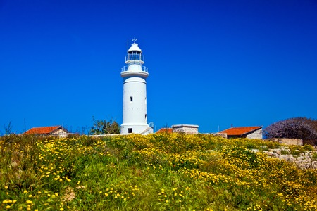 pharos: The ancient amphitheater in Paphos. Old lighthouse in Pafos, Cyprus