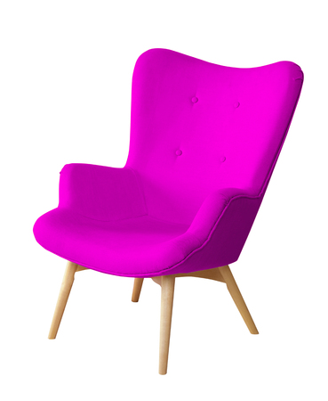 designer chair: Purple color chair isolated. Designer stool on white background, textile chair cut out. Series of colorful furniture