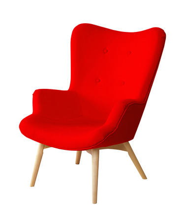 designer chair: Red color chair isolated. Designer stool on white background, textile chair cut out. Series of colorful furniture