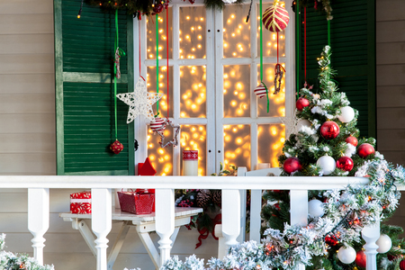 House porch decorated for christmas and New Year holiday