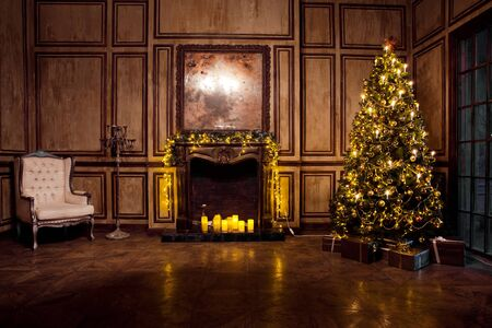 grunge room: Classic New Year Tree decorated in grunge room interior