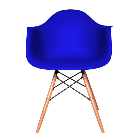 Blue color chair, modern chair isolated on white background. Plastic furniture chair cut out. Stock Photo