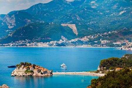 stephen: Sea and beach view in Montenegro. Island of Saint Stephen, Sveti Stefan view.