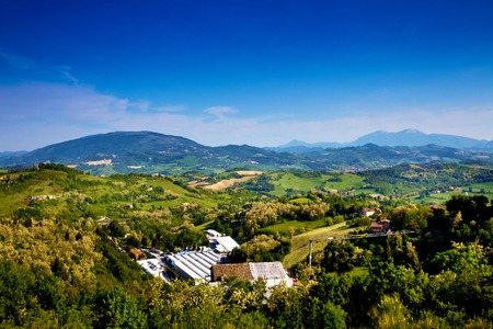 Toscana beautiful landscape. Nature panorama view with mountains