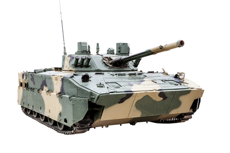 The BMD-4 Combat Vehicle of the Airborne isolated on white background. This armored fighting vehicle is one of the lightest and one of the most heavily armed in its class