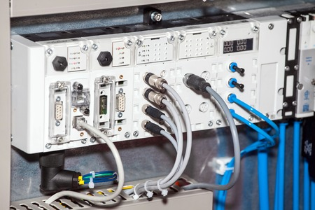 Pneumatic and electromechanical systems, components, and controls for process control and factory automation solutions Stock Photo