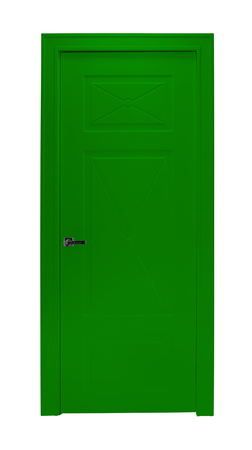 room door: Modern green room door isolated on white background