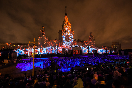 mapped: Moscow, Russia - September, 2016: Moscow International Festival Circle of light. 3D mapping show on Moscow State University
