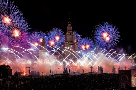 mapped: Moscow, Russia - September, 2016: Moscow International Festival Circle of light. Pyrotechnic fireworks show on Moscow State University Editorial