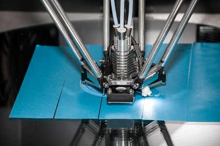 thermoplastic: 3d printer printing. Close up process of new printing technology