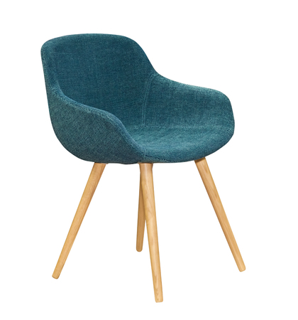 흰색 배경에 고립 된 현대 섬유 파란색 의자