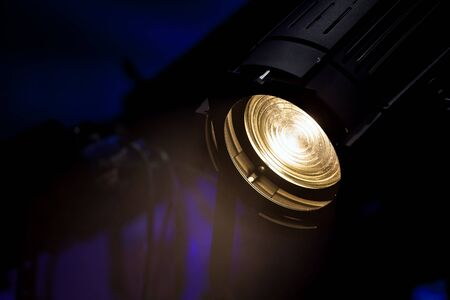 source of light: Stage light source closeup, colorful source light Stock Photo