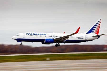 boeing 747: Moscow, Russia - October, 2012: Transaero aircraft company at the international airport Sheremetyevo