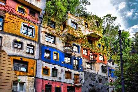 The view of Hundertwasser house in Vienna, Austria Stok Fotoğraf