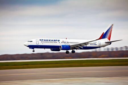boeing 747: Transaero aircraft company at the international airport Sheremetyevo