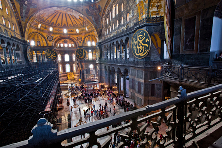 Istanbul, Turkey - April, 2013: Interior of the Hagia Sofia Mosque in Istanbul,Turkey.