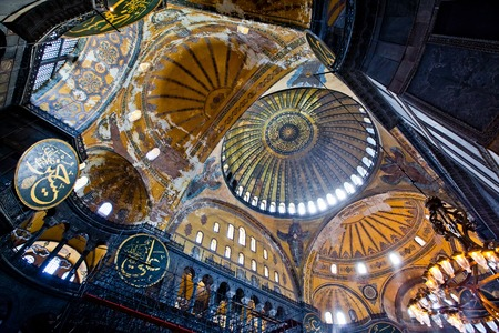 Istanbul, Turkey - April, 2013: Interior of the Hagia Sofia Mosque in Istanbul,Turkey.