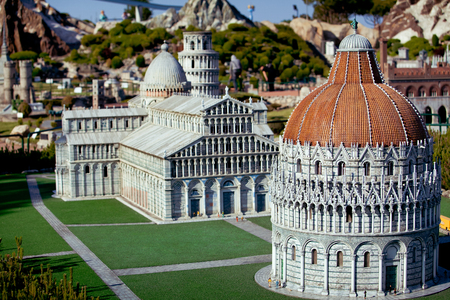 The miniature of Pisa city cahedral in Park of miniatures in Rimini, Italy