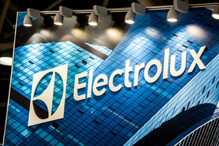 AB Electrolux company logo on the wall. Electrolux is a Swedish multinational home appliance manufacturer Фото со стока - 73627548