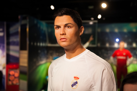 Amsterdam, Netherlands - March, 2017: Wax figure of Cristiano Ronaldo soccer player in Madame Tussauds Wax museum in Amsterdam, Netherlands Editorial