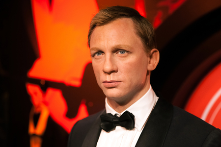 Amsterdam, Netherlands - March, 2017: Wax figure of Daniel Craig as James Bond 007 agent in Madame Tussauds Wax museum in Amsterdam, Netherlands