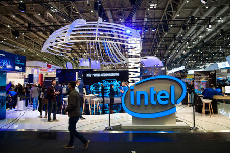 Hannover, Germany - March, 2017: Intel company stand interior on exhibition Cebit 2017 in Hannover Messe, Germany